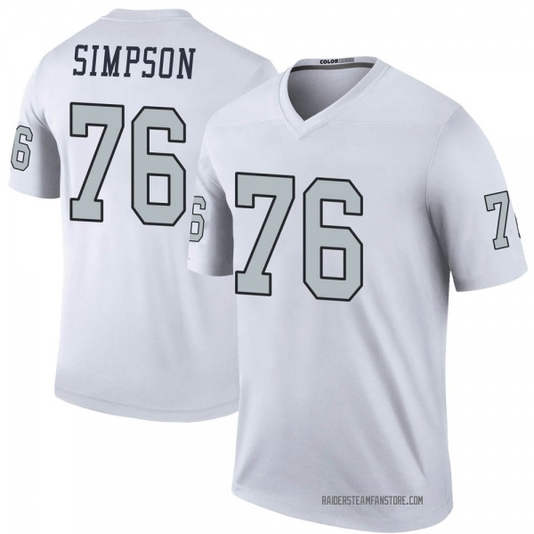 Youth John Simpson Las Vegas Raiders Legend White Color Rush Jersey